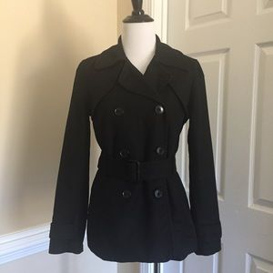 Black Double Breasted Pea Belted Winter Coat